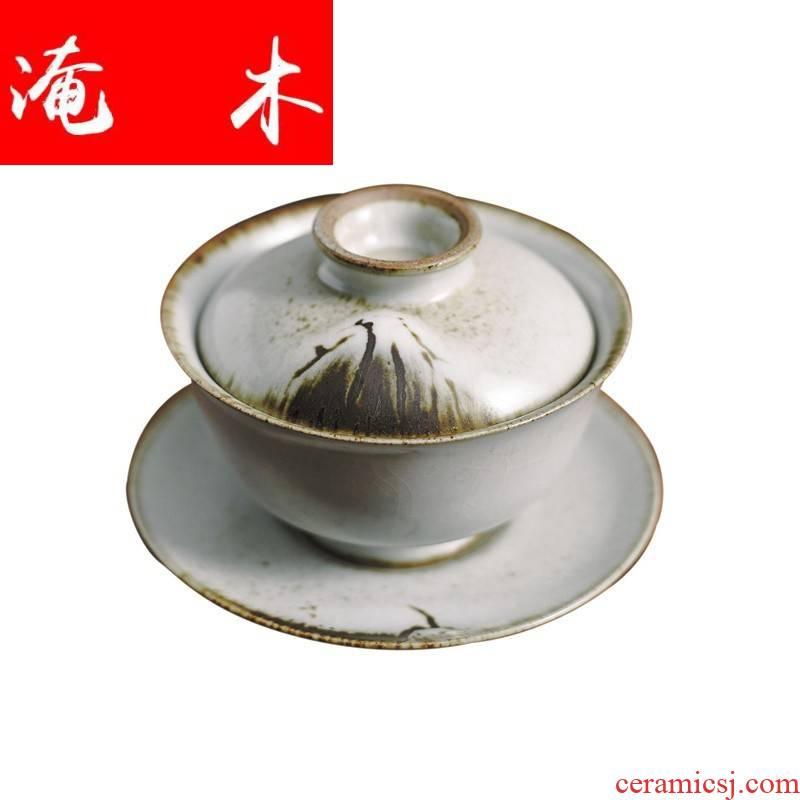 Submerged wood all hand jingdezhen ceramic metal variable glaze super - sized three bowl cups tureen