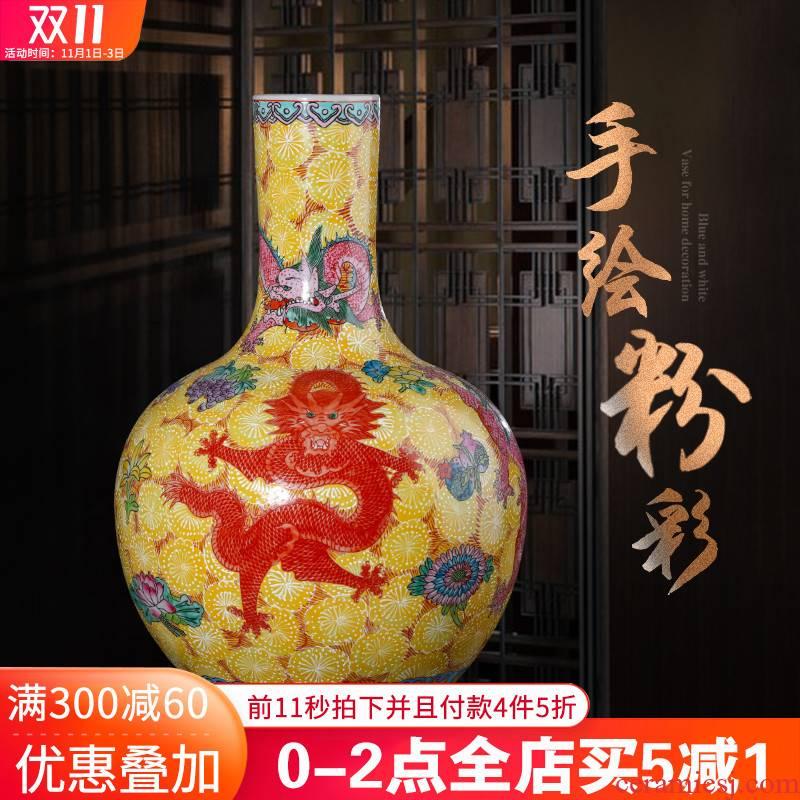 Jingdezhen ceramics imitation qianlong hand - made pastel dragon vase classical Chinese style living room home furnishing articles