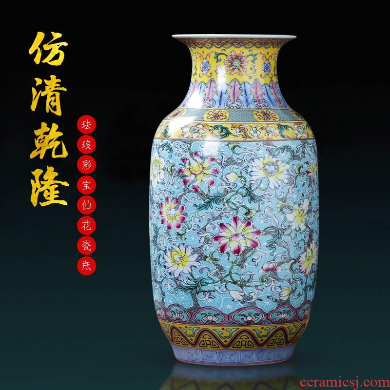 Jingdezhen porcelain ceramic colored enamel large vases, flower arranging place of new Chinese style household living room TV cabinet decoration
