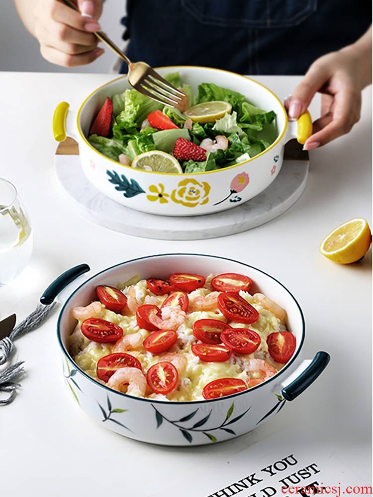 Japanese ceramics ears roasted bowl with cover domestic baking small bowl dessert bowl children steamed egg bowl of microwave oven is special