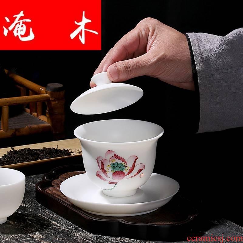 Submerged ceramic hand - made wooden tureen kung fu tea set only three bowl of manual thin foetus tureen dehua white porcelain biscuit firing tea bowl