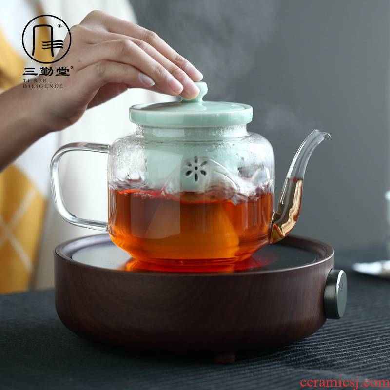 The three regular steam glass teapot high borosilicate glass teapot tea steamer ceramic bladder curing boil tea
