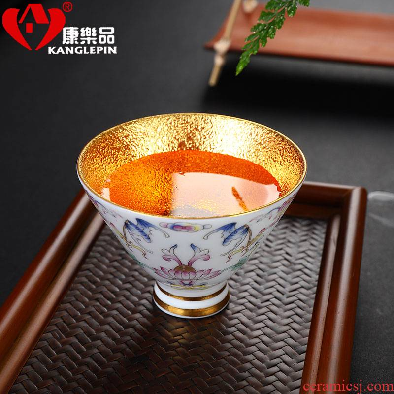 Recreational product colored enamel yellow marigold kung fu tea cups and gold hat cup of jingdezhen ceramic sample tea cup single cup home