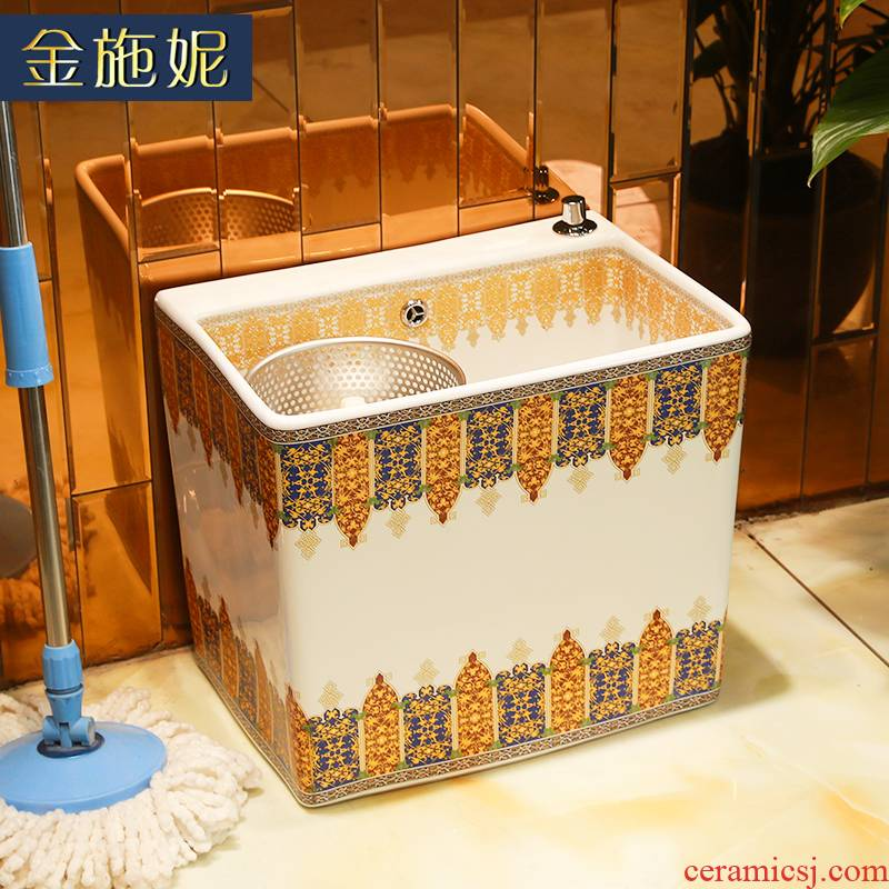The balcony large ceramic mop mop pool of household toilet bath mop pool floor small cistern
