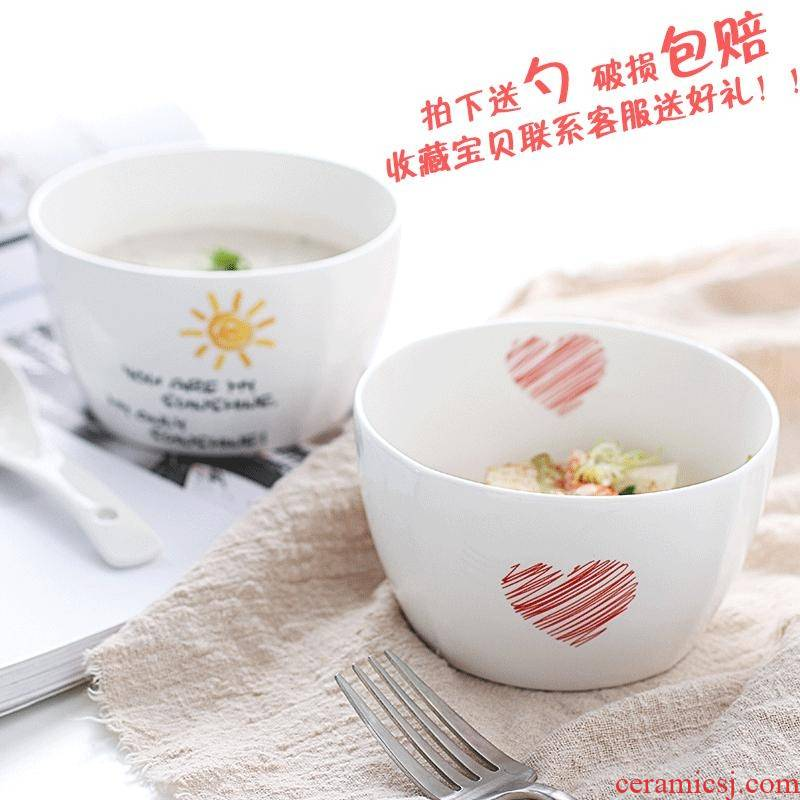 Use of a single simple move ceramic Bowl suit express Bowl Bowl of soup Bowl microwave tableware
