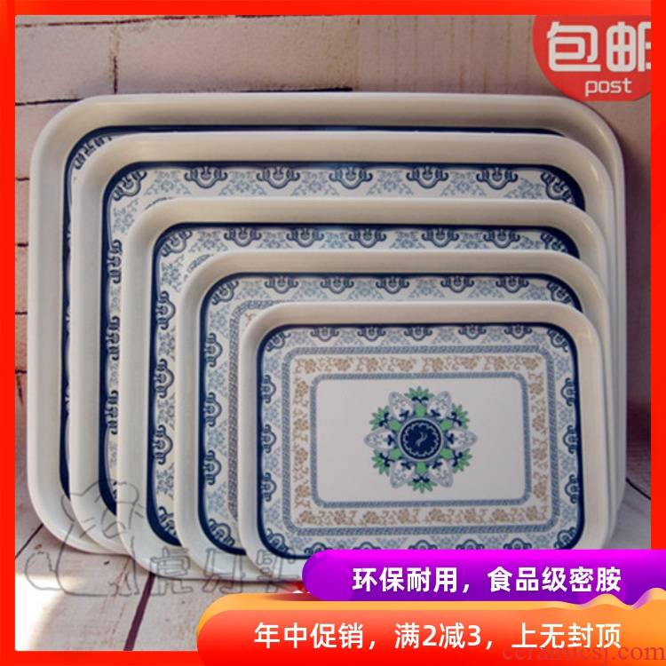 View the best package mail thickening super - sized tile - like plastic rectangular tray was blue and white porcelain tea tray plates of fruit cups