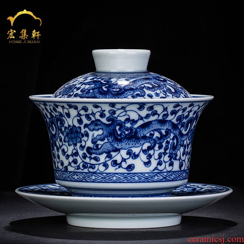 Hand made blue and white only three tureen large blue and white porcelain cups Chinese blue and white dragon wind restoring ancient ways people make tea bowl