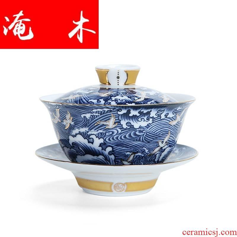 Submerged wood by hand the see colour blue and white porcelain craft tureen high dehua white porcelain kung fu tea set three bowl of tea ware worship