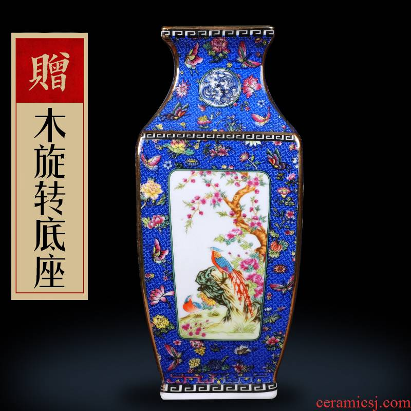 Archaize of jingdezhen ceramic powder enamel vase of flowers and birds up furnishing articles housewarming flower arranging Chinese landing crafts sitting room