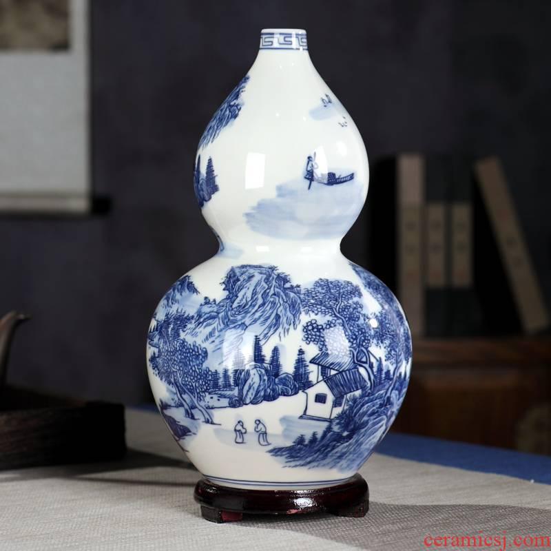 Gourd blue and white porcelain vase Chinese jingdezhen ceramics archaize furnishing articles sitting room flower arranging landscape decoration