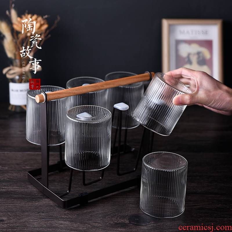 Ceramic story glass cup with the heat - resisting transparent cup children home ultimately responds six cups put beverage holder only suits for