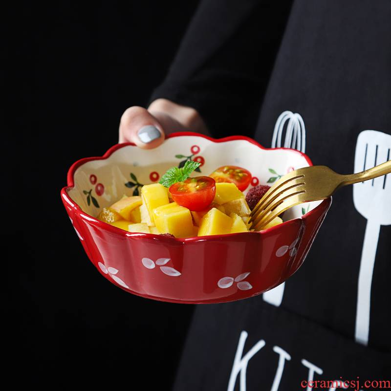 Tableware single girl heart lovely fruit Japanese household grilled ceramic bowl bowl dish dish suits for strawberry salad dishes