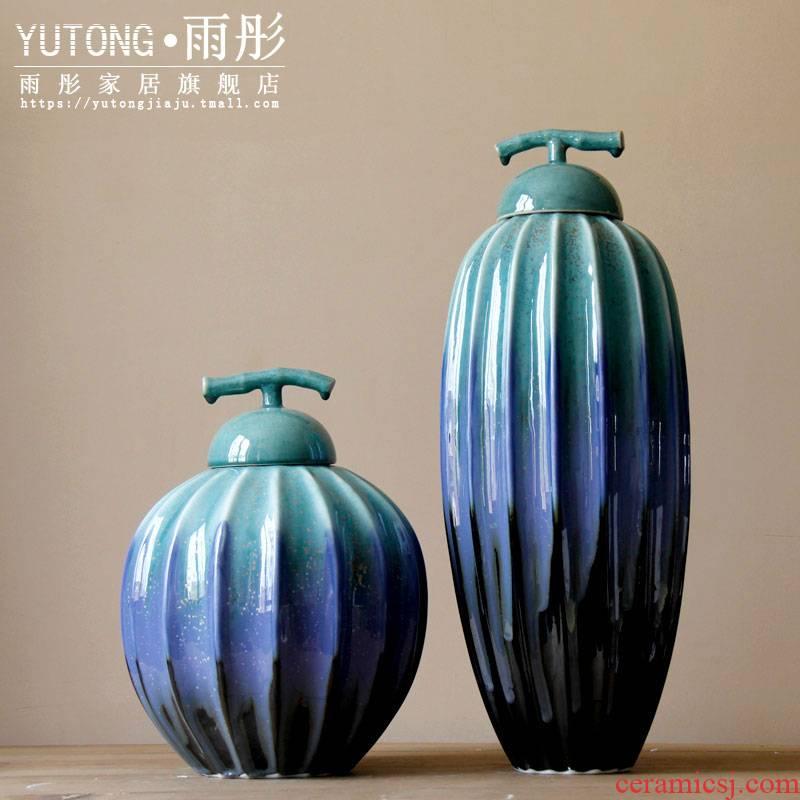 Jingdezhen ceramic creative up porcelain pot household storage tank furnishing articles checking porcelain vases, flower designers