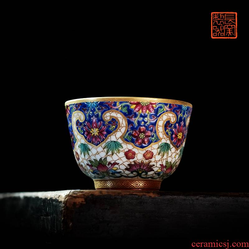 Offered home - cooked ju long up controller colored enamel paint treasure flower ice MeiWen cup sample tea cup jingdezhen ceramic cups