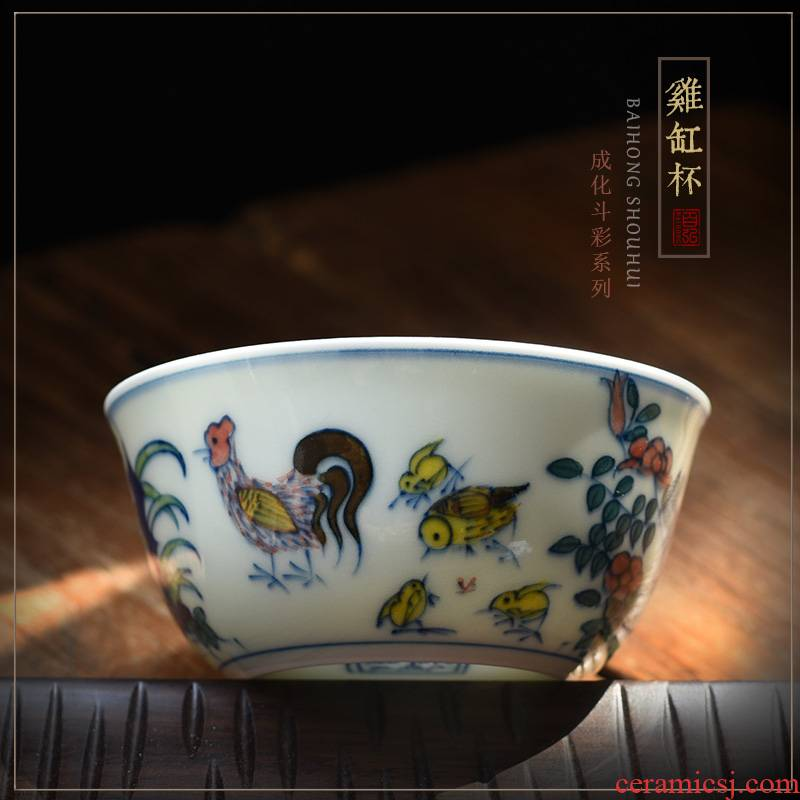 The Copy in color bucket cylinder cup of jingdezhen ceramic cups chicken hand - made master cup single cup sample tea cup tea by hand