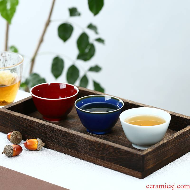 . Poly real scene master kung fu tea cup pure manual jingdezhen ceramic cups color glaze tea set sample tea cup