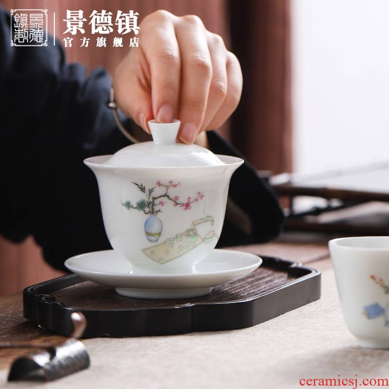 Jingdezhen flagship store manual white porcelain kung fu tea set four cups a tureen combination of household make tea