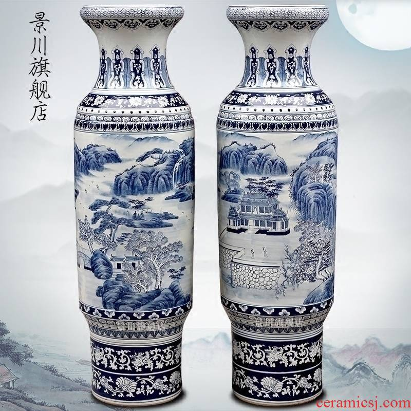 Jingdezhen ceramic antique hand - made landscape paintings of Chinese style of large vase after classic adornment opening gifts furnishing articles