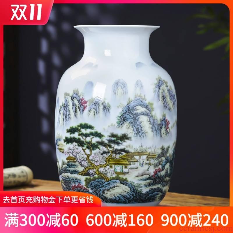Jingdezhen ceramics pastel landscapes lucky bamboo vase furnishing articles sitting room home TV ark adornment arranging flowers