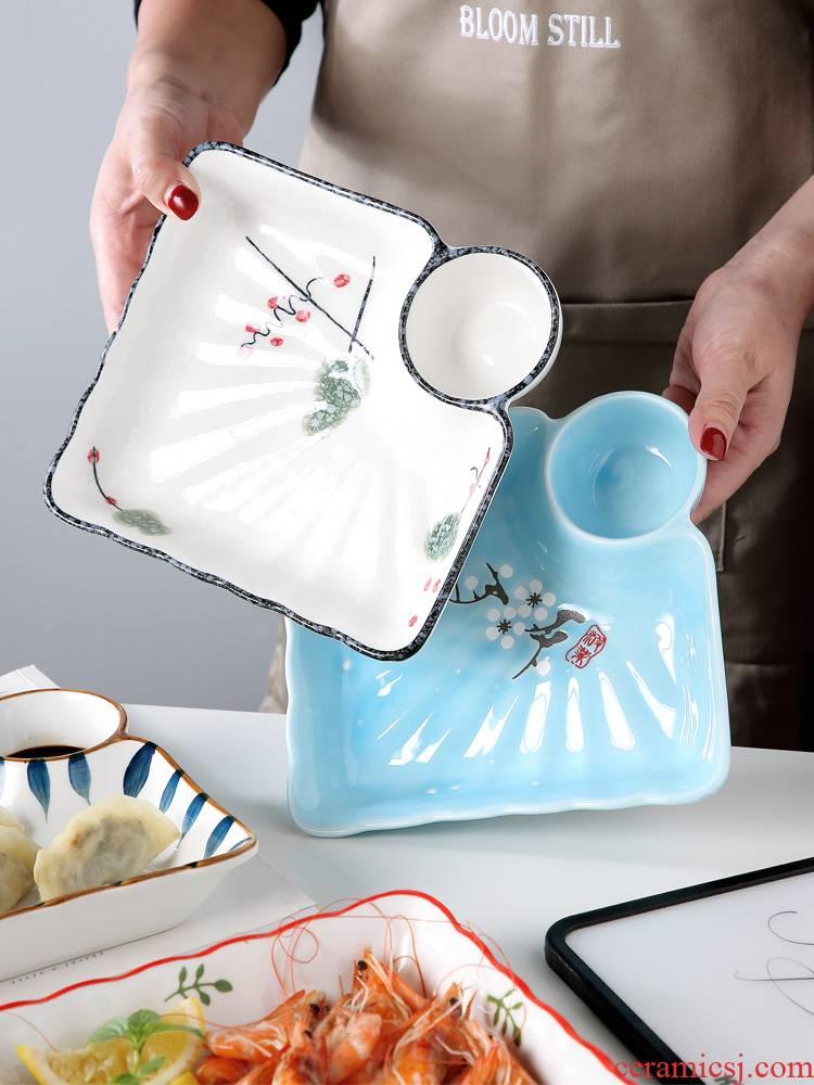 Jingdezhen ceramic plate with vinegar disc dumplings home creative double drop food dish of steaming plate plate tableware
