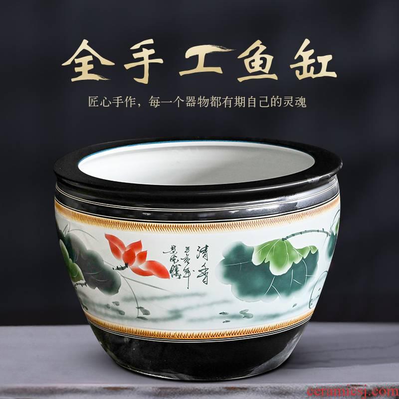 Jingdezhen ceramic aquarium water lily cylinder goldfish bowl lotus basin tortoise to heavy cylinder fish bowl large villa furnishing articles