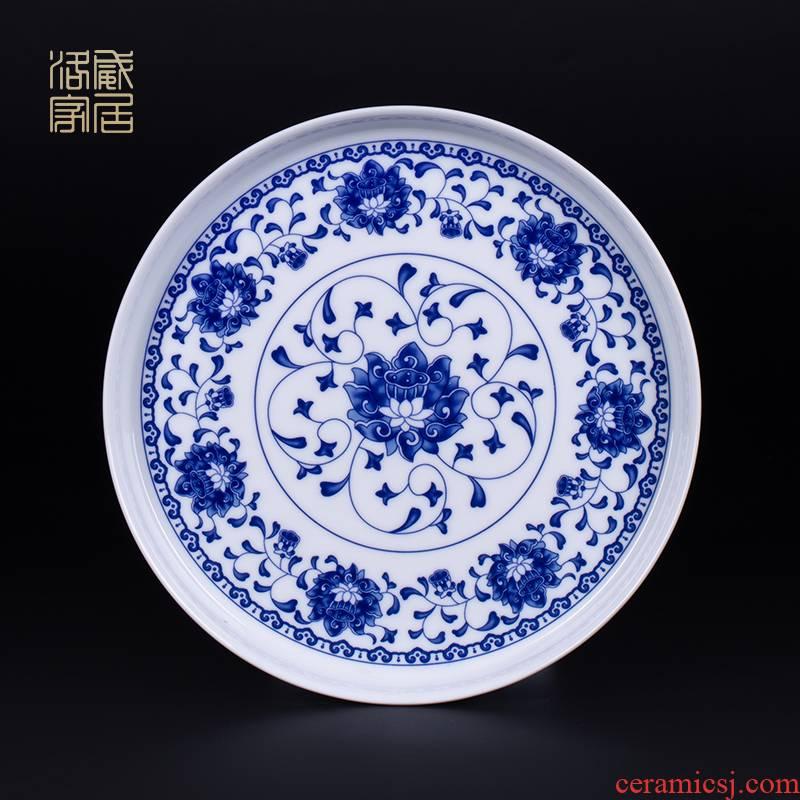 Circular tray tea tray, ceramics jingdezhen porcelain tea sets tea tray was domestic large - sized ceramic dish of tea accessories