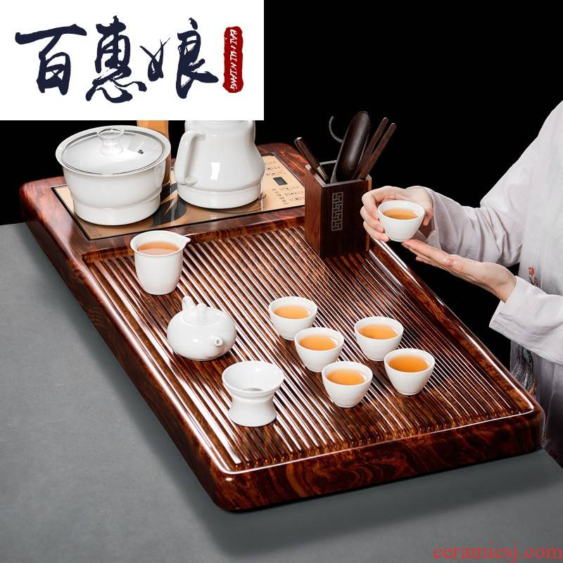(niang tea contracted and I household kung fu of a complete set of ceramic tea set solid wood tea tray full automatic fire