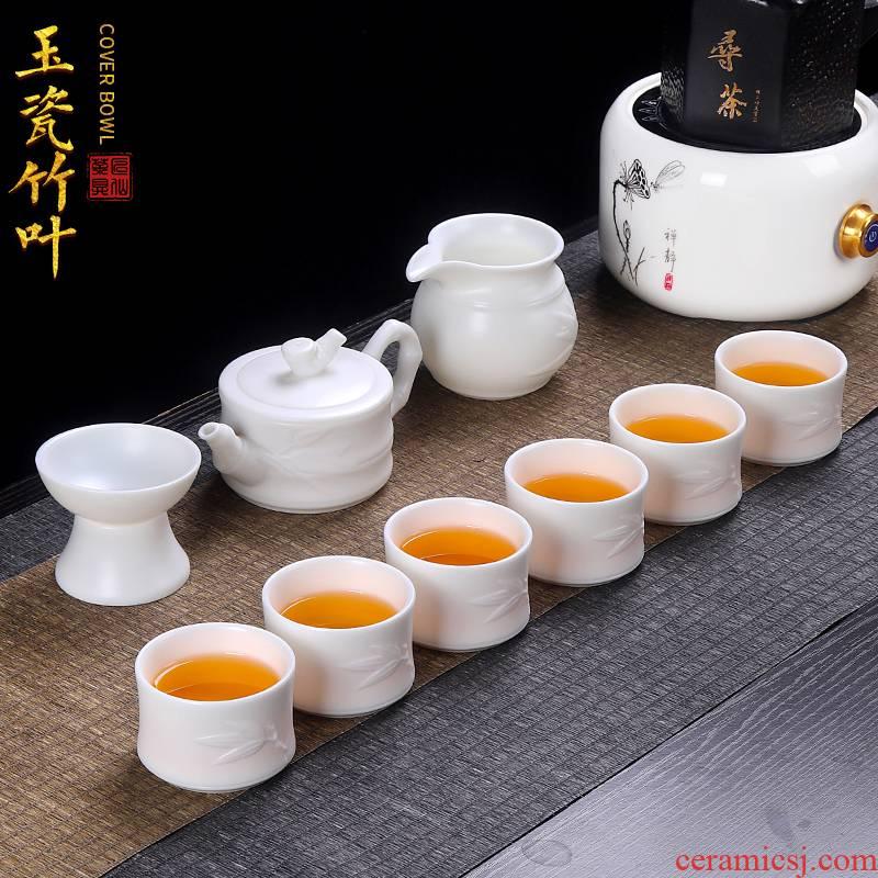 Artisan fairy dehua white porcelain kung fu tea set suit pure manual household contracted sitting room tea teapot teacup