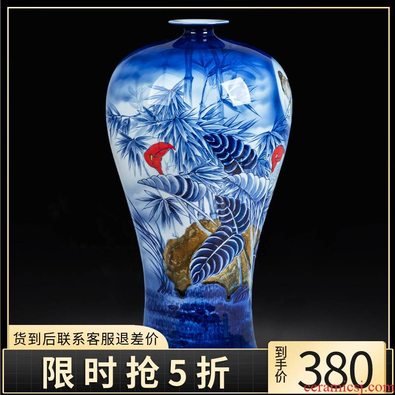 Jingdezhen blue and white porcelain vase prosperous shot auspicious ceramics hand - made mei bottles of large - sized high Chinese office furnishing articles