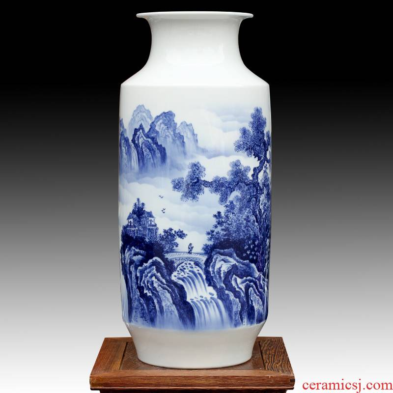 Jingdezhen hand - made spring mountain spring rhyme dried flower flower vase modern household of Chinese style ceramic furnishing articles sitting room adornment