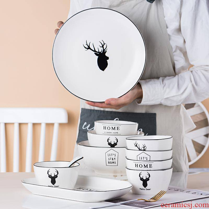 Web celebrity 4 ins wind dishes suit household ceramics tableware set bowl dish dish combination contracted Nordic antlers