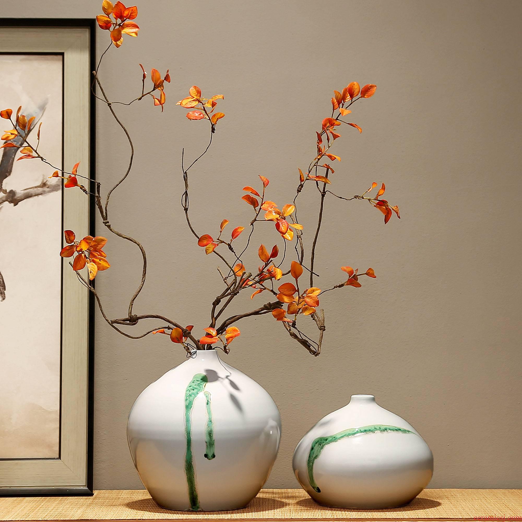 Jingdezhen new Chinese zen decorations dried flower vase furnishing articles porch combination living room TV cabinet ceramic vase
