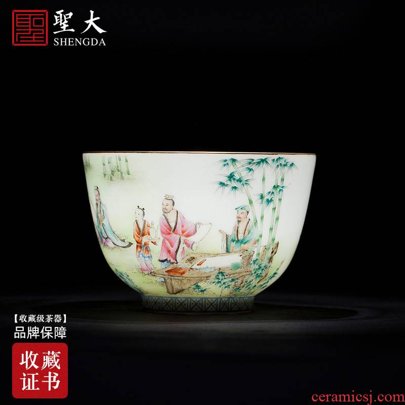 Santa teacups hand - made ceramic kungfu pastel bamboo seven sages masters cup sample tea cup all hand of jingdezhen tea service