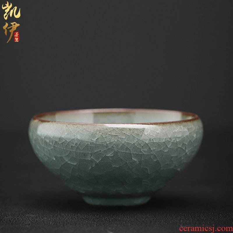 Zeng, Guangxu celadon ice crack pot lamp that kung fu tea cup tea cup master cup of household ceramic sample tea cup individuals