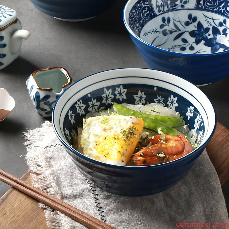 Tableware Japanese big rainbow such as bowl bowl mercifully rainbow such as use of household ceramic rice bowl salad bowl under the glaze color restoring ancient ways
