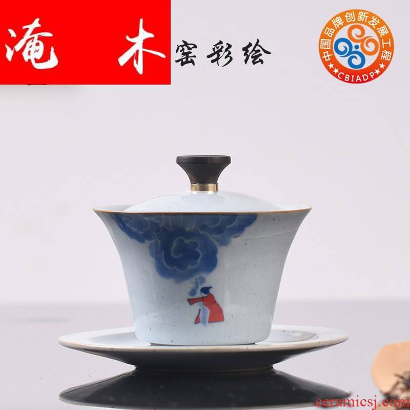 Flooded wooden landscape ceramics jingdezhen blue and white tureen large antique hand - made three to make tea bowl of household