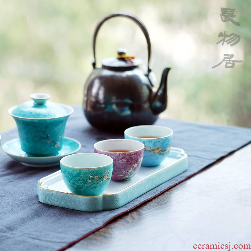 Offered home - cooked hand - made in pastel icing on the cake, grilled spend three to tureen tea cups of jingdezhen ceramic tea set