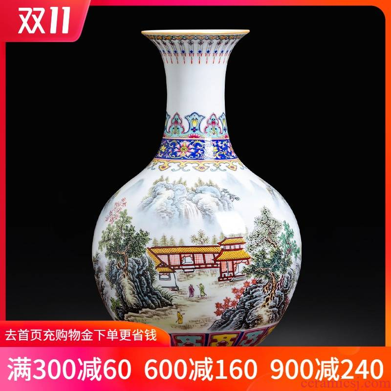 Porcelain of jingdezhen ceramics pastel landscape painting Chinese vase sitting room of Chinese style household act the role ofing is tasted furnishing articles of handicraft