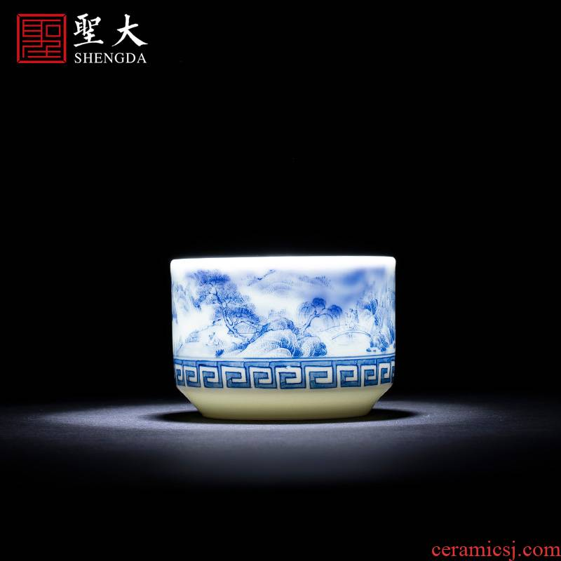 St the ceramic cup kung fu master cup manual hand - made jingdezhen blue and white landscape meander straight cup tea by hand