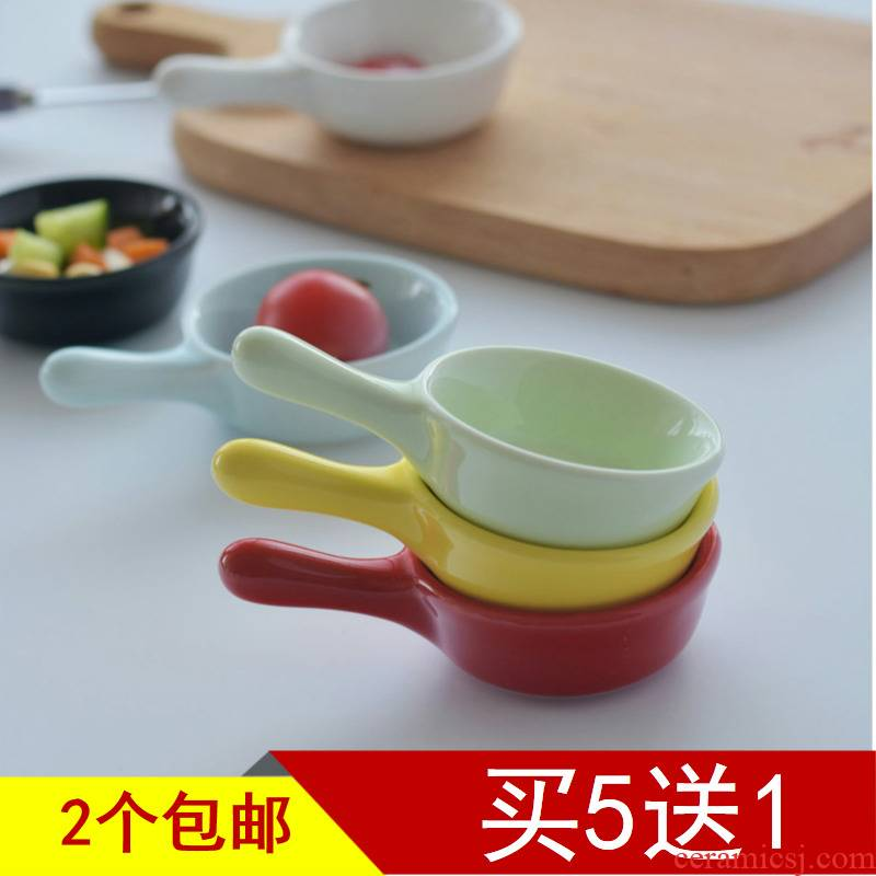 Creative ceramic small Q disk and colorful mini handle dip seasoning dishes dish of soy sauce vinegar household snack dishes