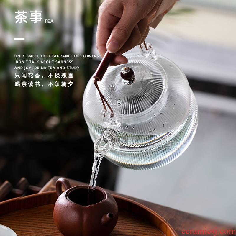 Joan notes glass girder pot boiled tea kungfu tea set single pot of a single electric TaoLu high - temperature thickening high appearance level