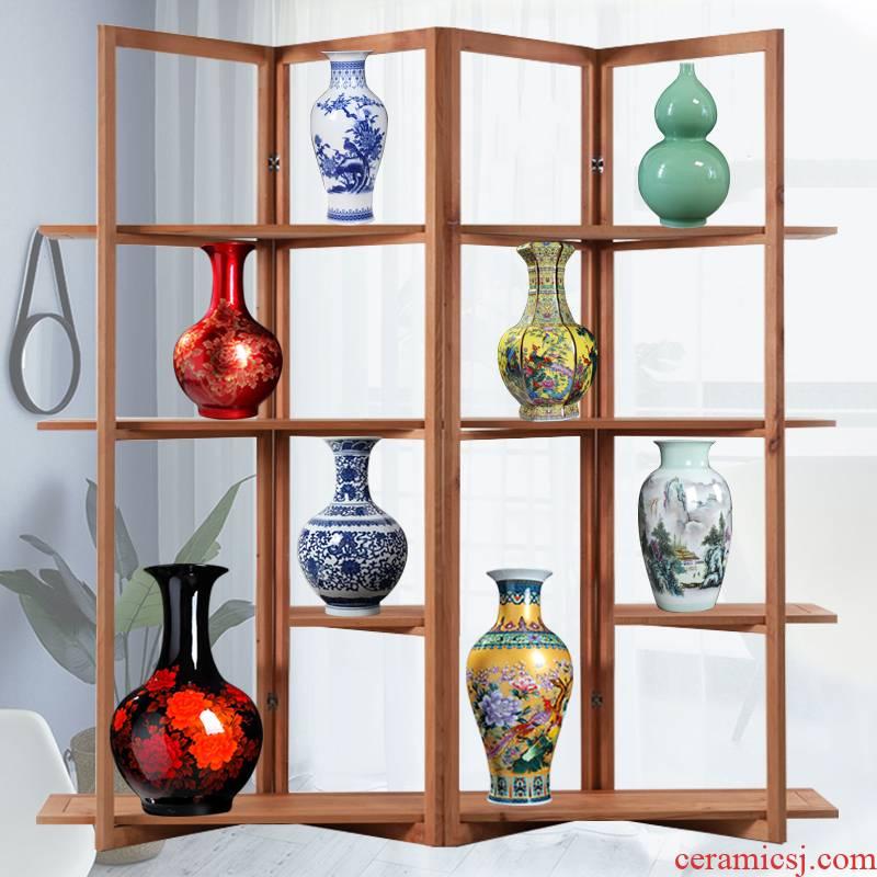 Jingdezhen ceramics vase furnishing articles sitting room dry flower arranging flowers modern TV cabinet rich ancient frame decorative arts and crafts