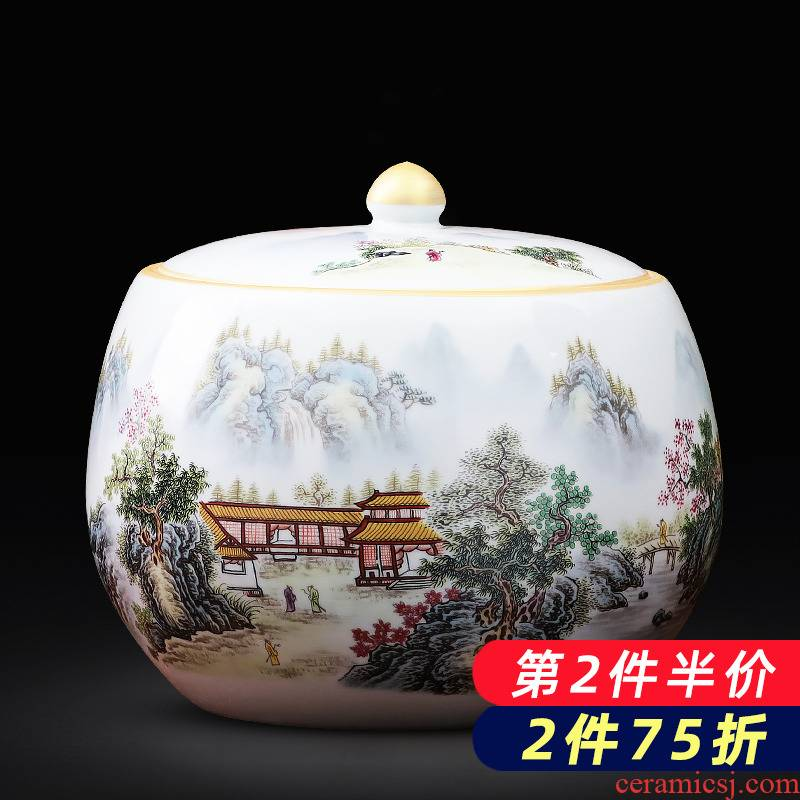 Jingdezhen ceramics landscape caddy fixings puer tea cake tin with large seal storage place ornament