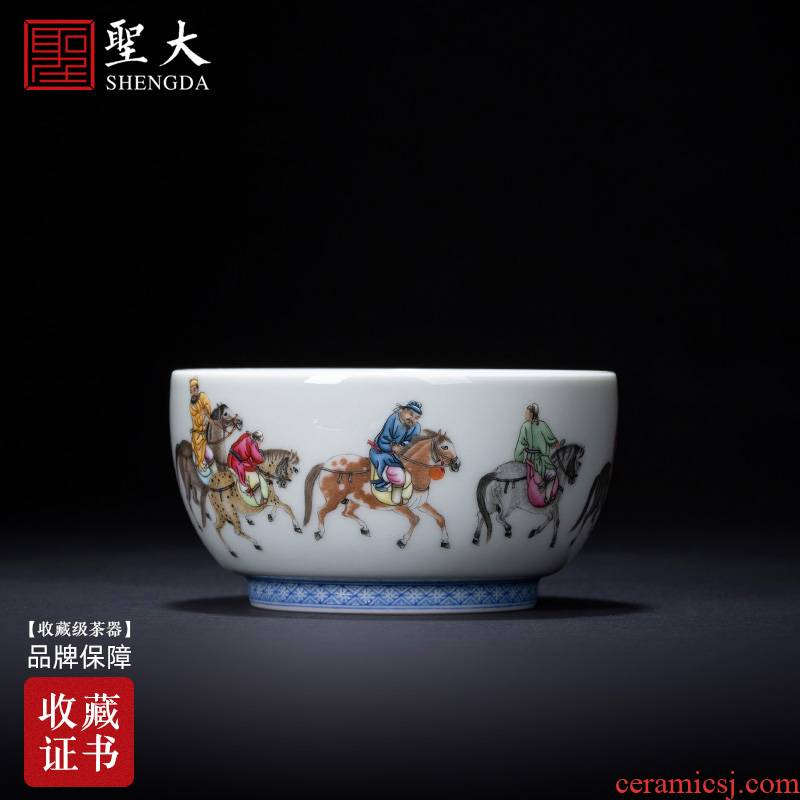 Santa teacups hand - made ceramic kungfu character pastel five Kings drunk to figure the master sample tea cup jingdezhen tea service