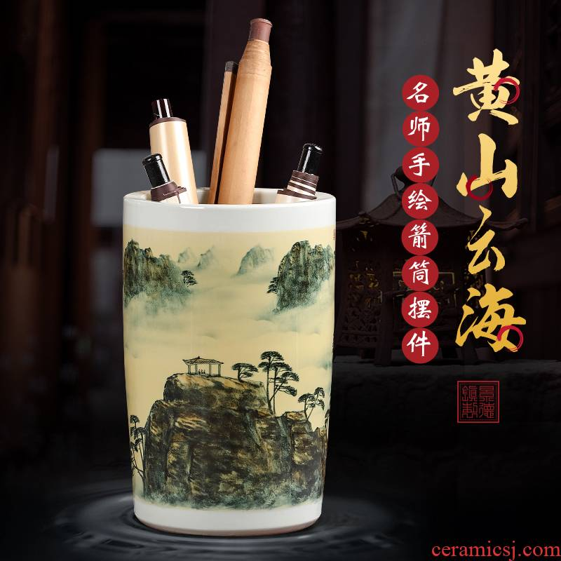 Hand painting and calligraphy scrolls cylinder large landing jingdezhen ceramic vase furnishing articles the draw tube with the receive a vertical cylinder