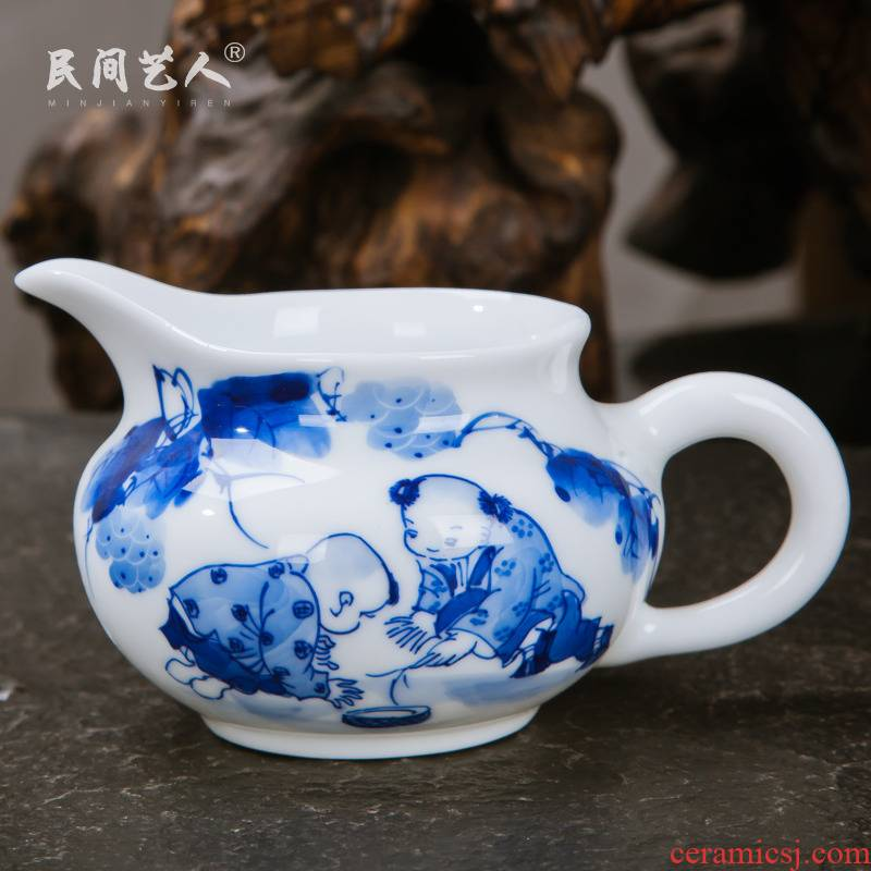 Jingdezhen ceramic kung fu tea set with parts manual hand - made fair keller cup tea ware fair of blue and white porcelain cup