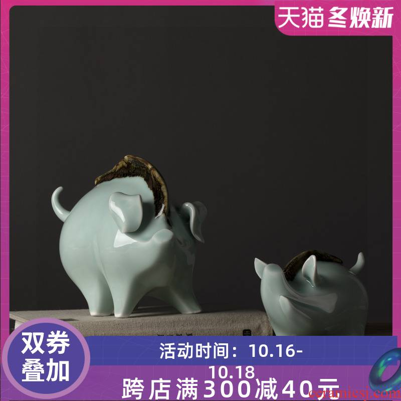 Jingdezhen ceramic pig furnishing articles celadon porcelain home sitting room ark adornment handicraft creative desktop furnishing articles