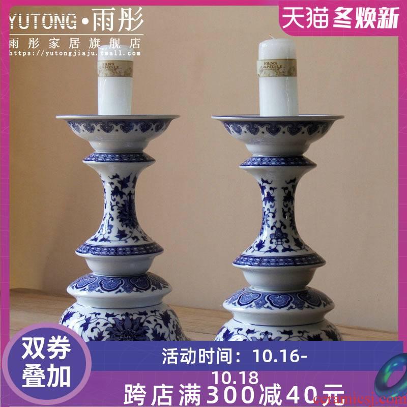 Jingdezhen blue and white porcelain high candlestick creative ceramic candelabra handicraft zen ceramic decorative furnishing articles