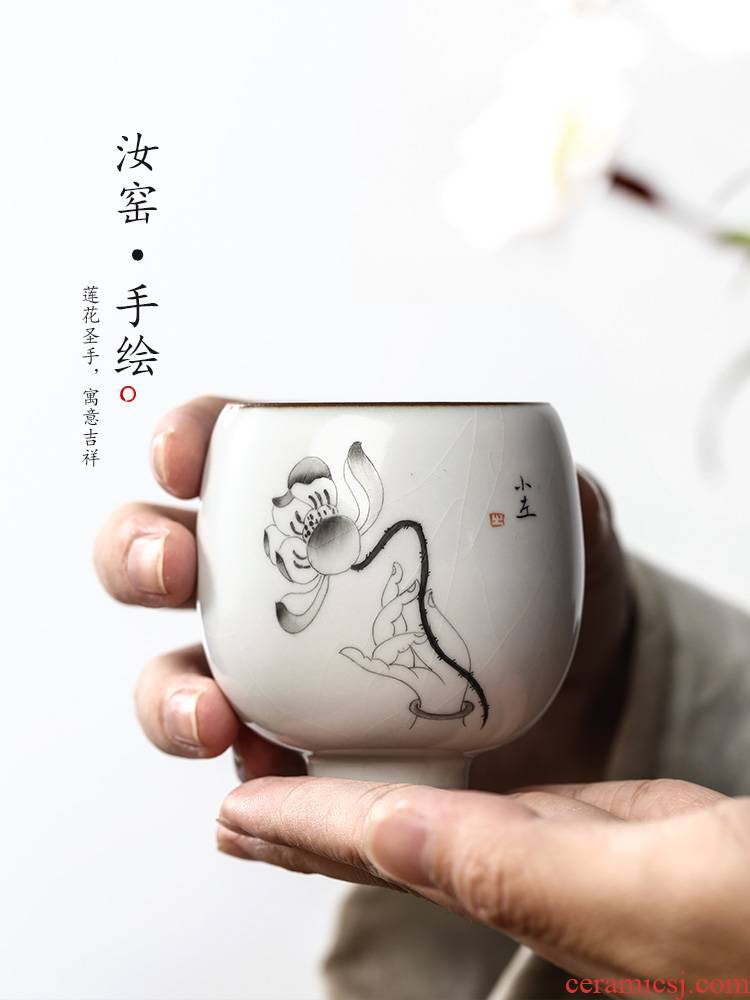 Jingdezhen your up with pure manual hand - made teacup bergamot kung fu master cup single CPU ceramic sample tea cup lotus tea sets