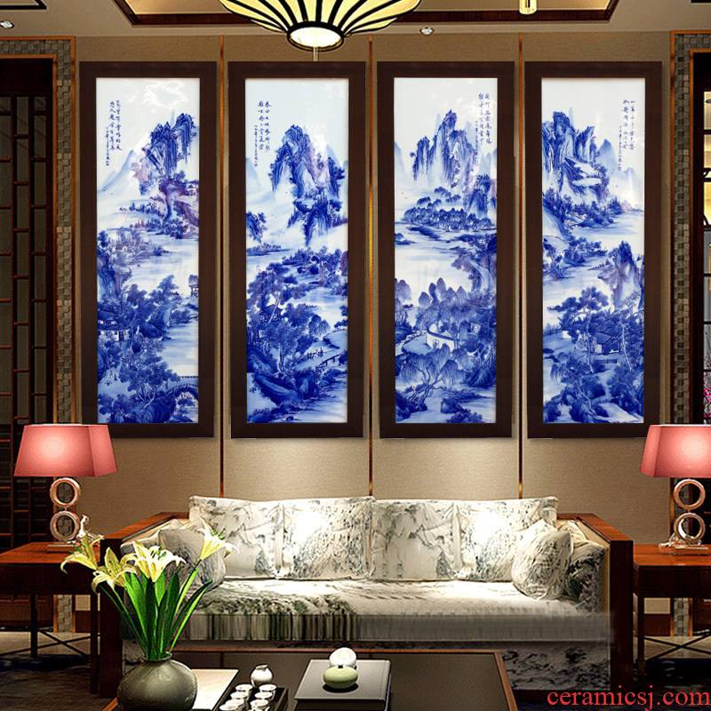 Landscape painting four screen painter jingdezhen blue and white porcelain plate in the sitting room adornment study sofa background wall hang a picture